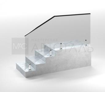 Ограждение со стеклом на мини-стойках c поручнем