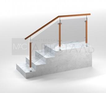 Ограждение с квадратными деревянными стойками, деревянным поручнем и стеклом